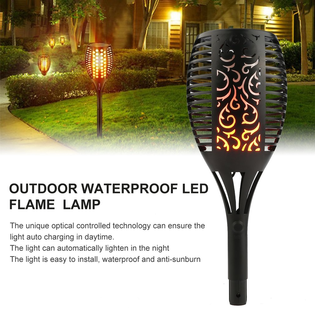 Outdoor Waterproof LED Solar Torch Light Dancing Flame Flickering Decor Lamp