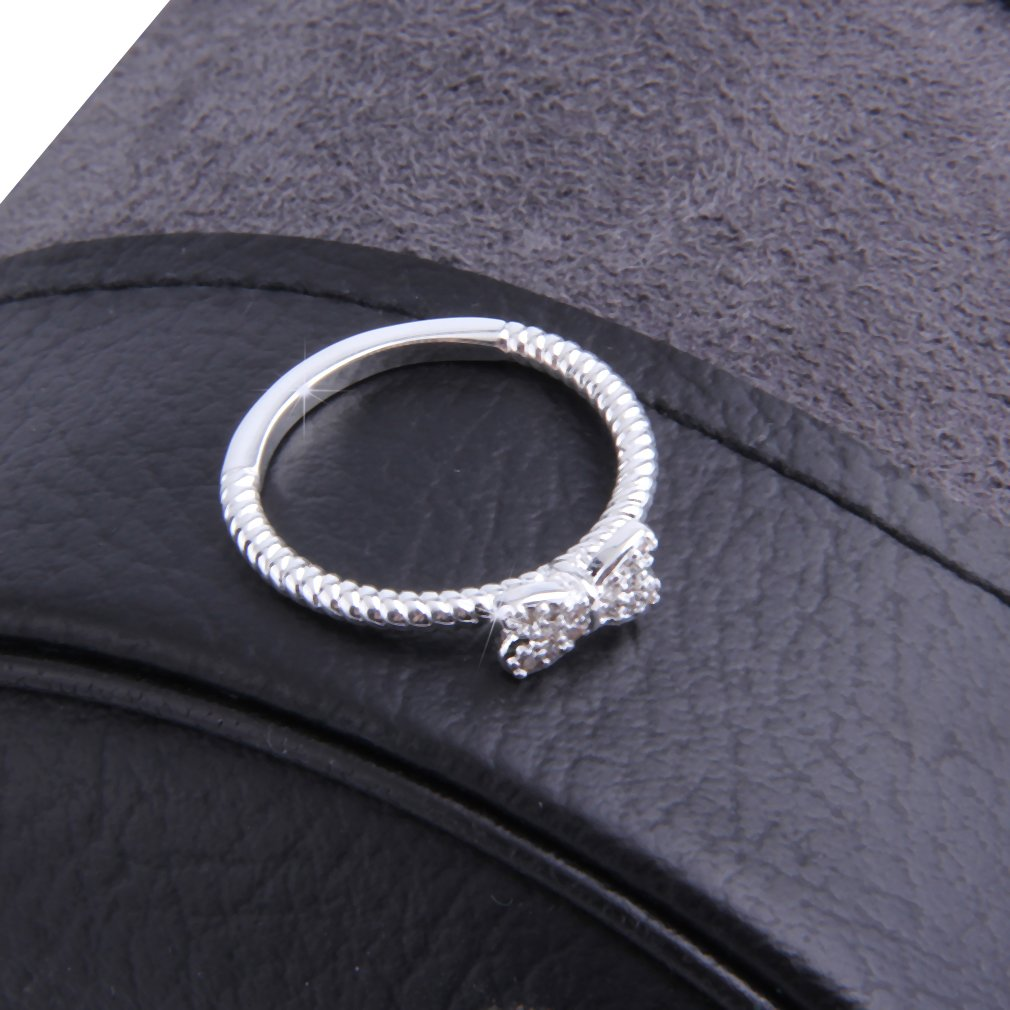 Lovely Fashion Bowknot Design Female Jewelry Ring With Micro Paved Bow Tie