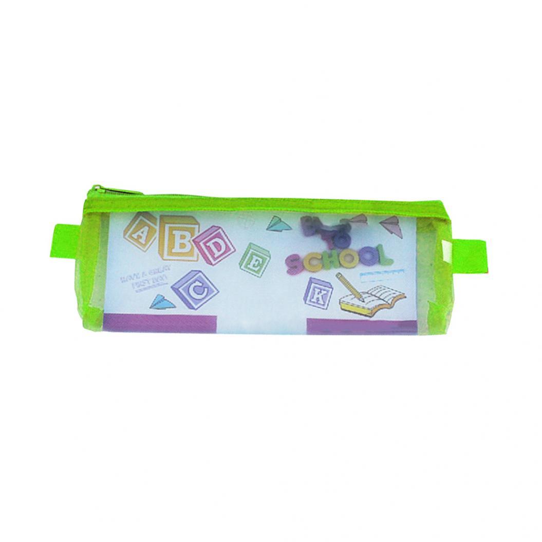 Large Capacity Translucent Portable Zipper Mesh Pencil Case Pen Storage Bag Gift