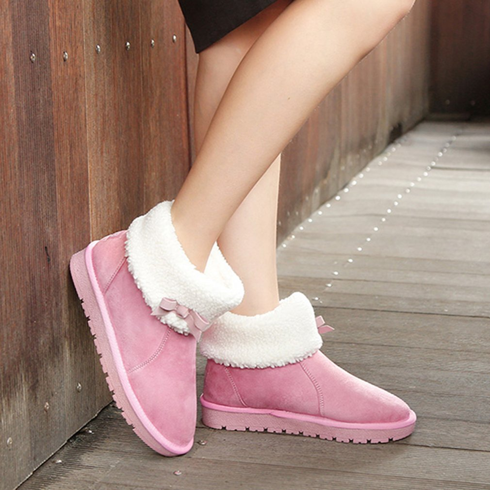 RENBEN 12121 Female Snow Boots Thickened Frizzled Feather Boots For Winter