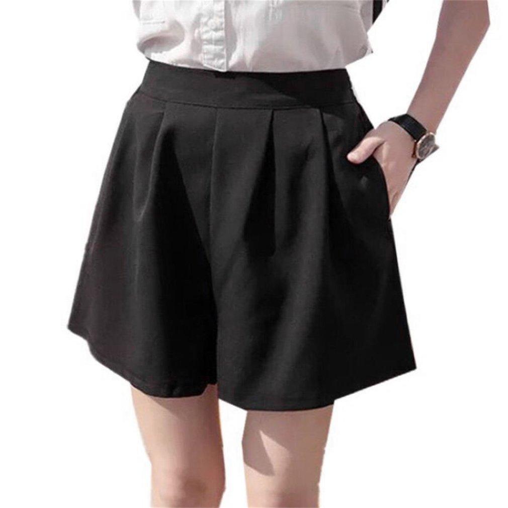 Thin Style Women Chiffon Casual Shorts Plug Size High Waist Straight Shorts
