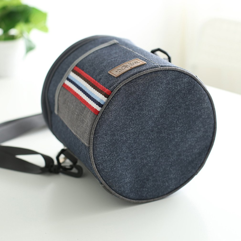 Portable Handbag Cylinder Oxford Cloth Insulated Lunch Box Thermal Insulation Bag Pearl Cotton Aluminum Foil For Picnic School