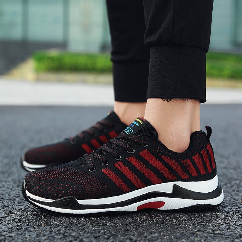 Fashion Flyknitting Summer Men Sports Shoes Colorful Letter Decor Running Jogging Shoes Breathable Mesh Upper Sneakers