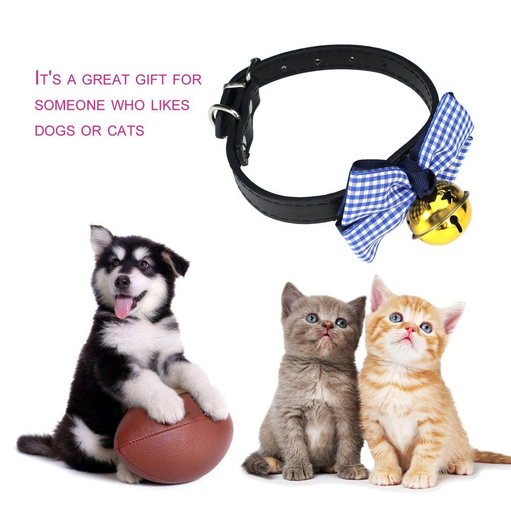 Dog Collar Tie Bow Big Gold Bell Necklace Lattice Spot Pattern Pet Decoration
