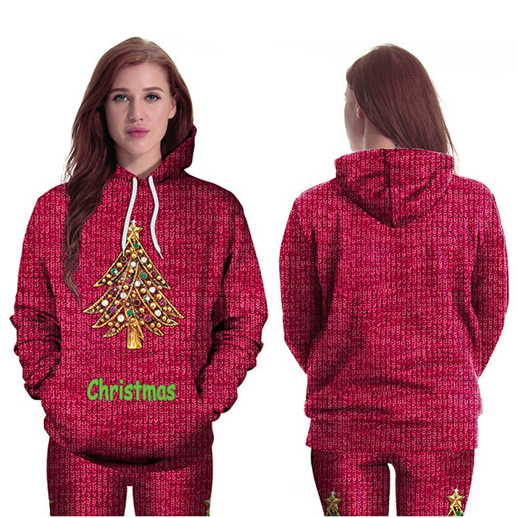 Long-sleeved Hooded Pullover Sweaters with Christmas Tree Print for Women