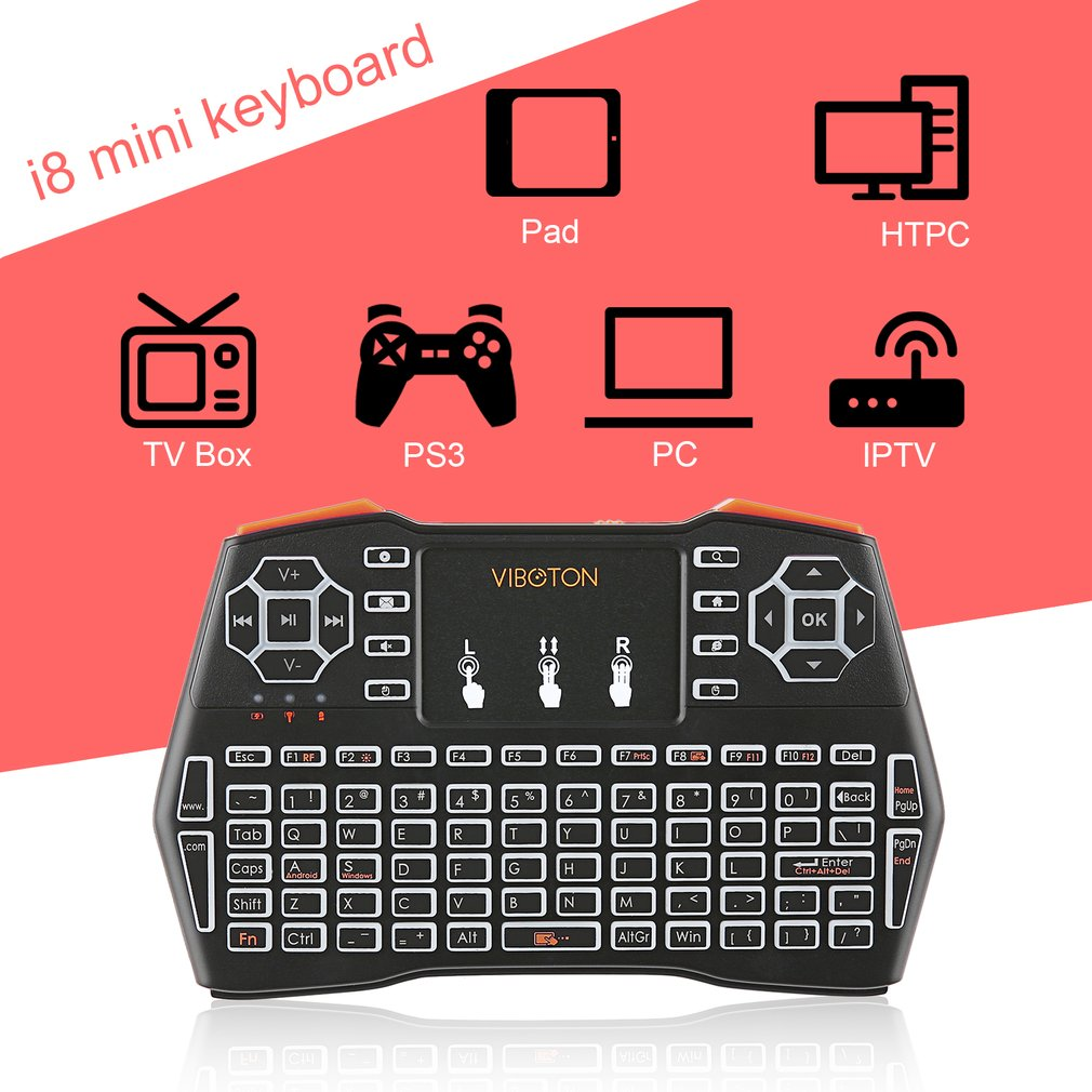 Mini Rechargeable Backlight Wireless Keyboard 2.4Ghz Touchpad for PC