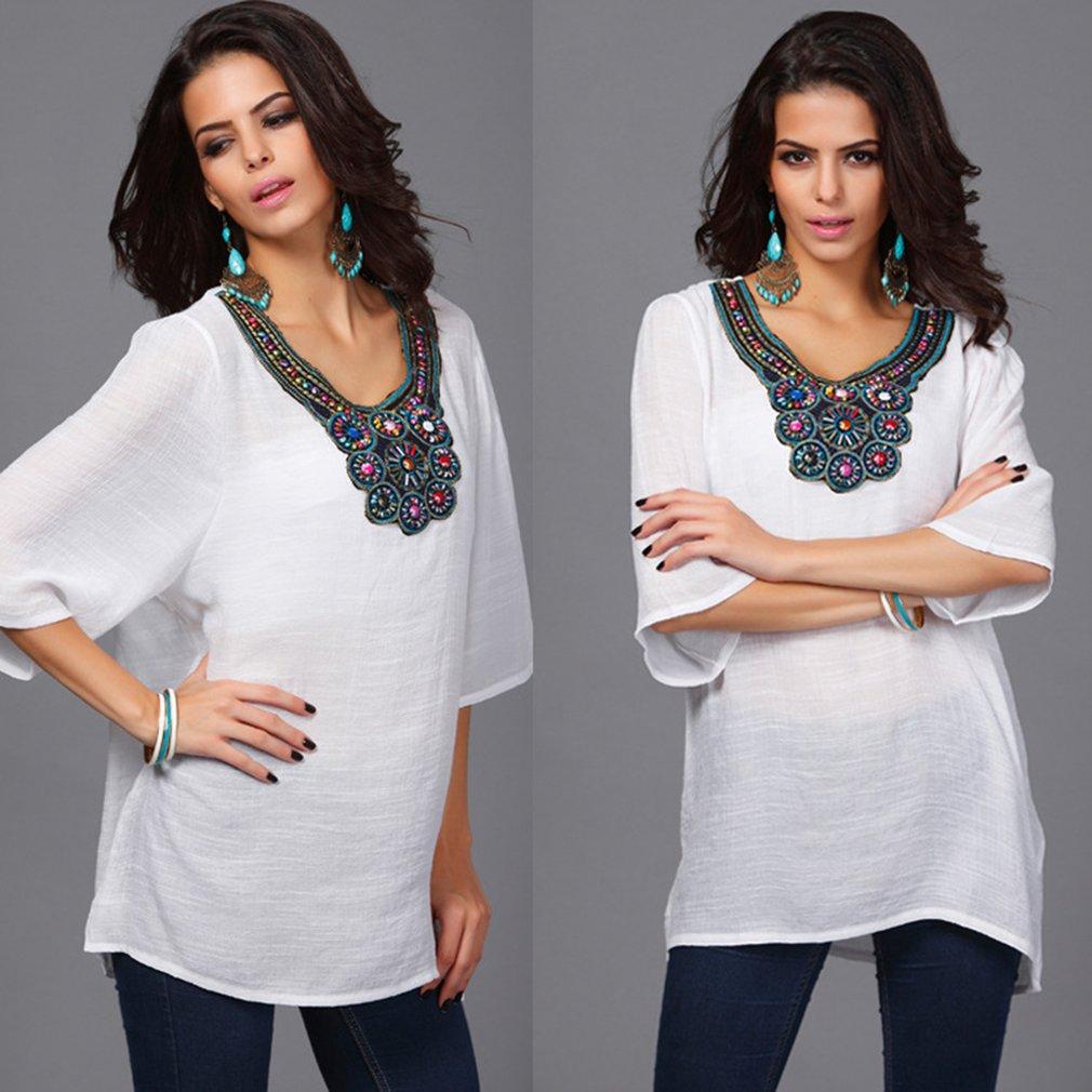 Women Half Sleeve T-shirt O-neck Embroidered Beads Dress Blouse Casual Loose Slub Cotton Medium Length Tops Ladies Clothing