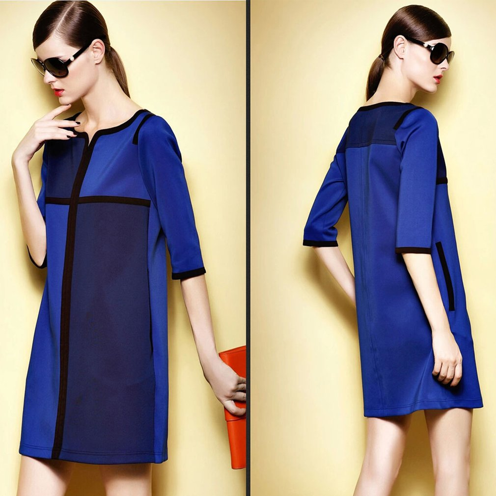 Stitching Color Straight Skirt Office Lady Loose Three-quarter Sleeve Dress