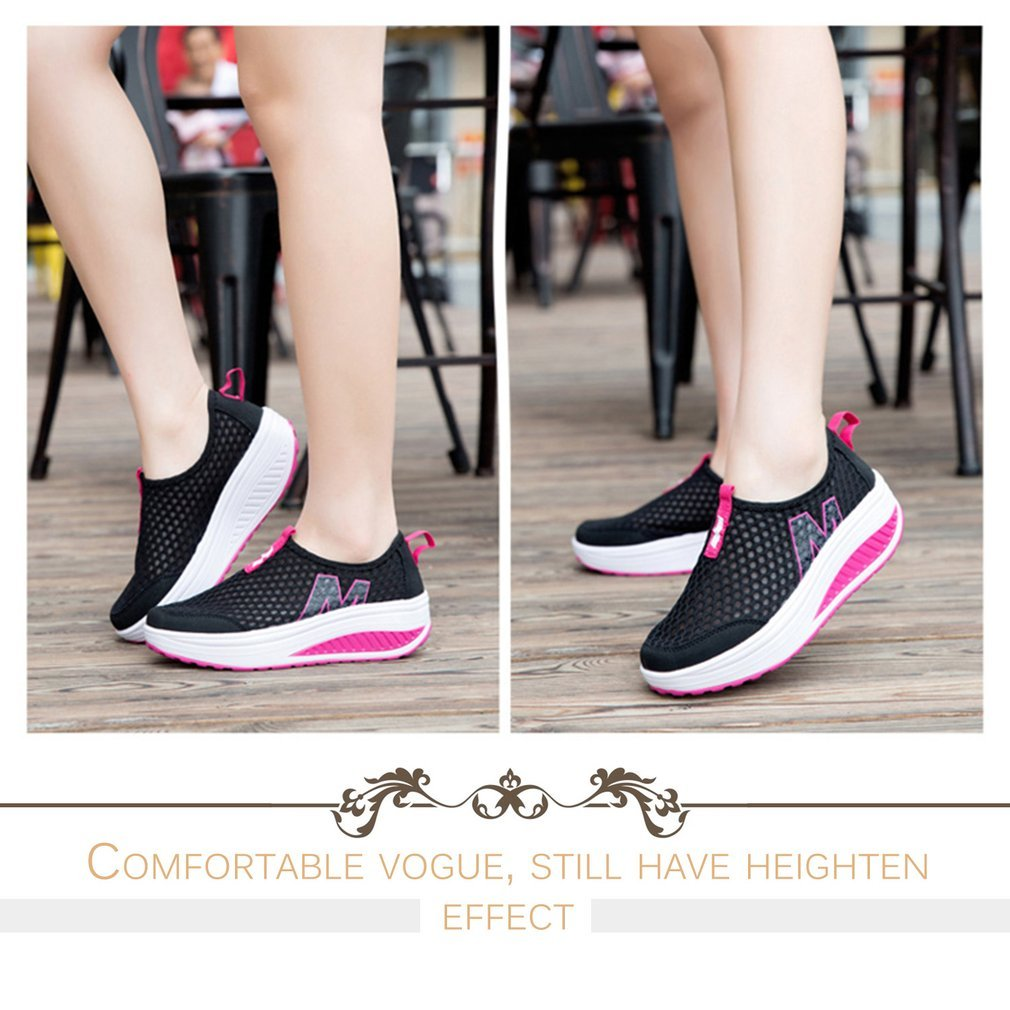 Women Casual Shoes Mesh Summer Breathable Swing Shoes Lady Comfortable Thicken Platform Sports Running Daily Wear Loafers