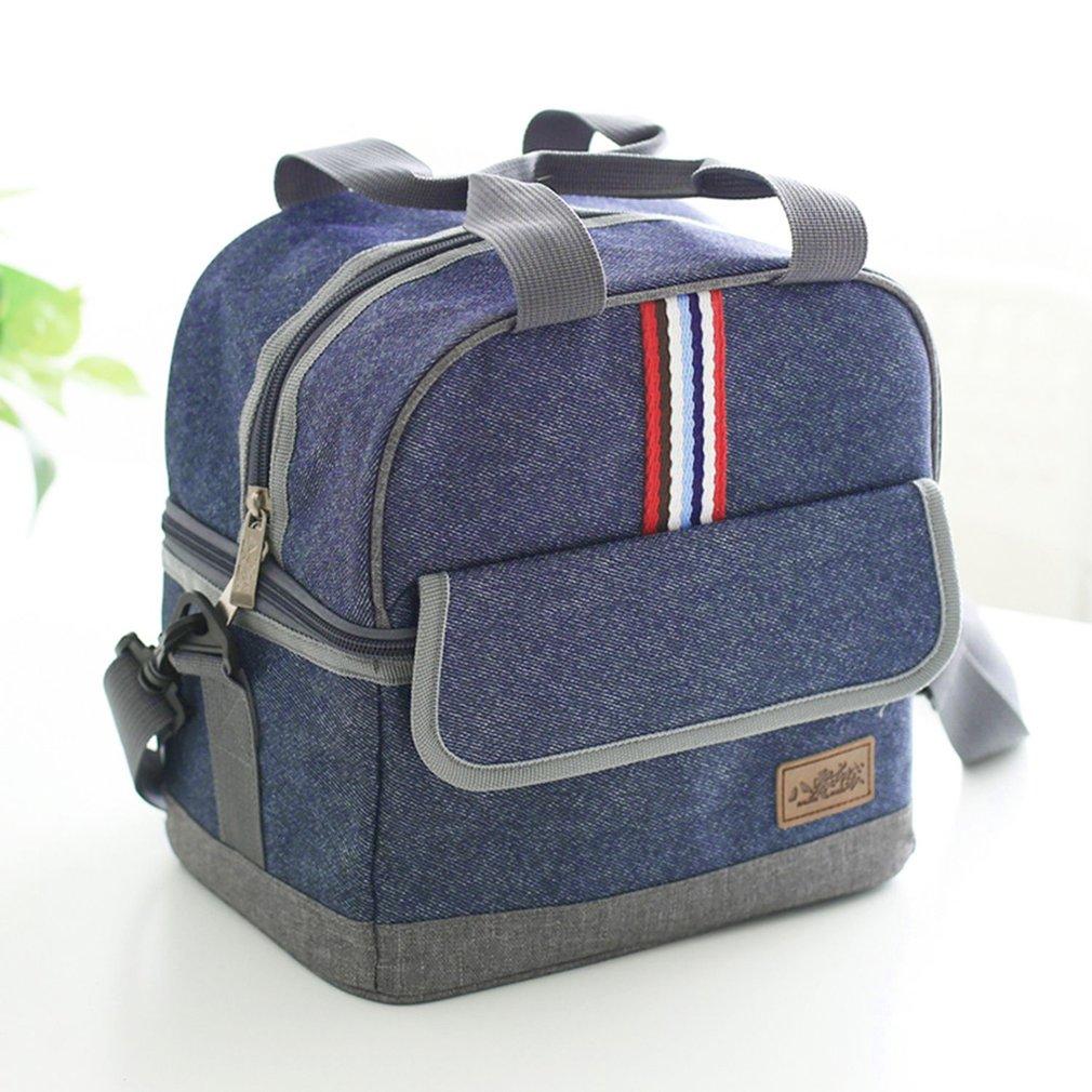 80061 Portable Handbag Dark Blue Oxford Cloth Stripe Insulated Lunch Box Storage Bag Thermal Insulation Bag For Picnic School