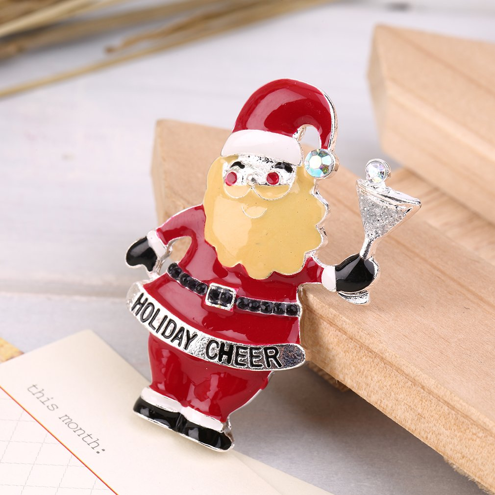 Lovely Christmas Snowman Bell Alloy Brooch Pin Xmas Gift Party Decoration