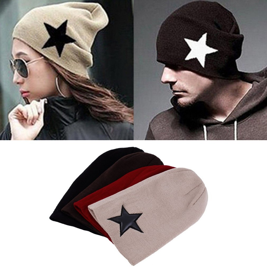 Unisex Star Pattern Knitted Hip-Hop Beanie