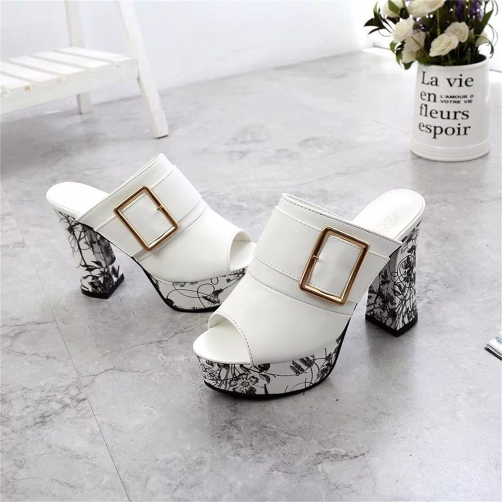 Spring Summer Fashion Women High Heels Thick Heel Slippers Flip Flops Shoes