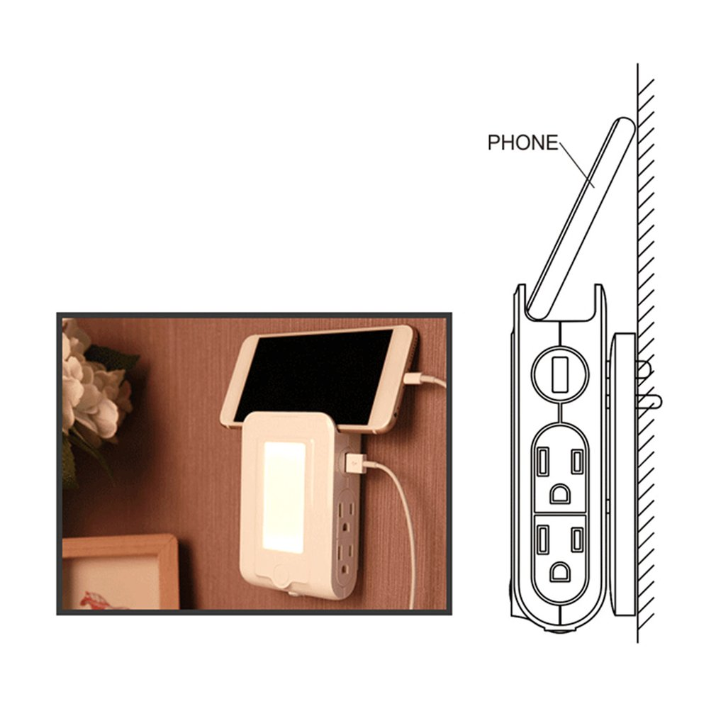 Furnishing LED Light Bedside Automatic Nightlight Light Sensor Control Lamp