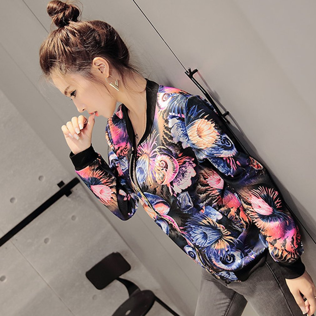 Women Spring Autumn Jackets Short Coat Long Sleeve Lady Floral Print Tops