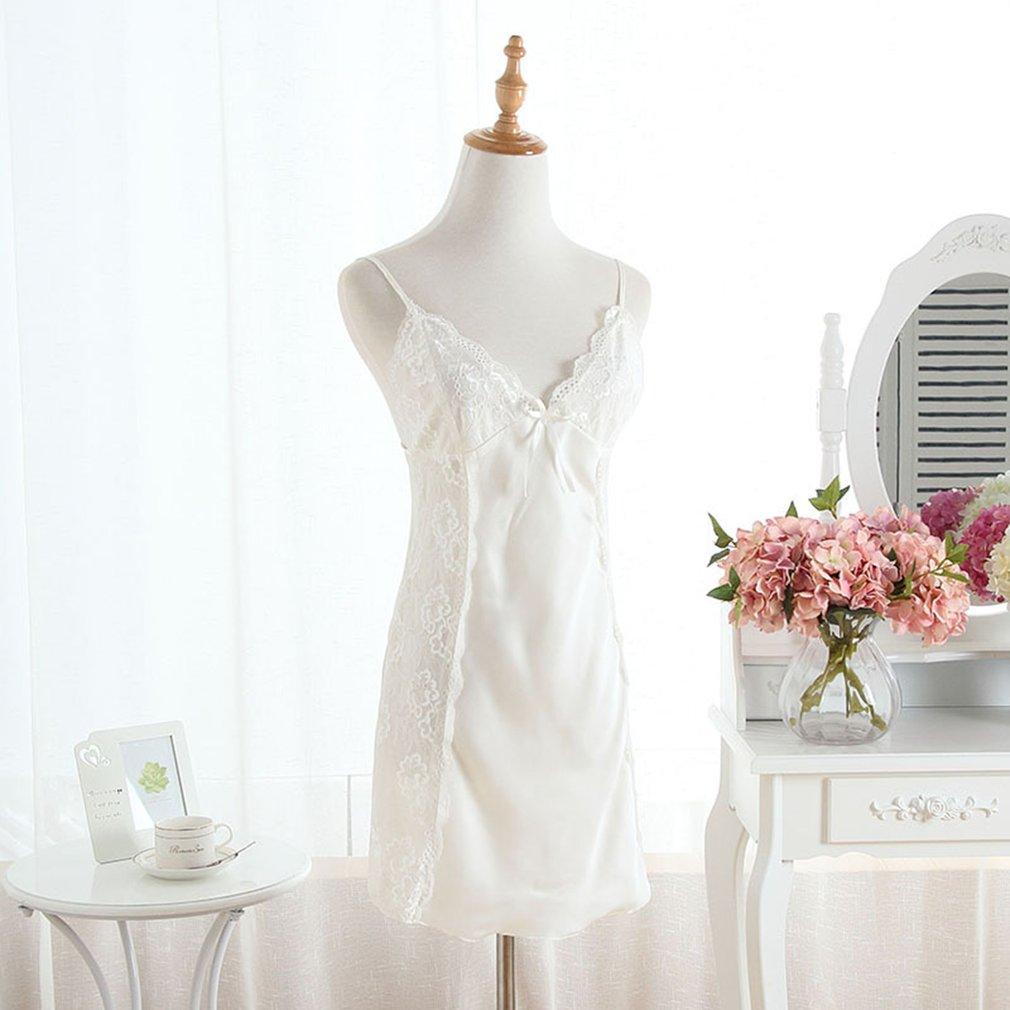 Solid Elegant Ladies Sexy Sleepwear Nightgown Dress Women Satin Silk Dress