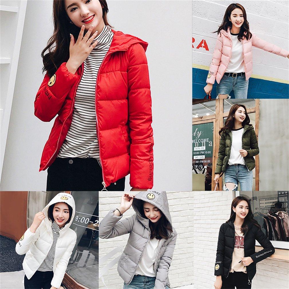 Female Winter Jacket Women Wadded Jacket Cotton Padded Smile Print Coat