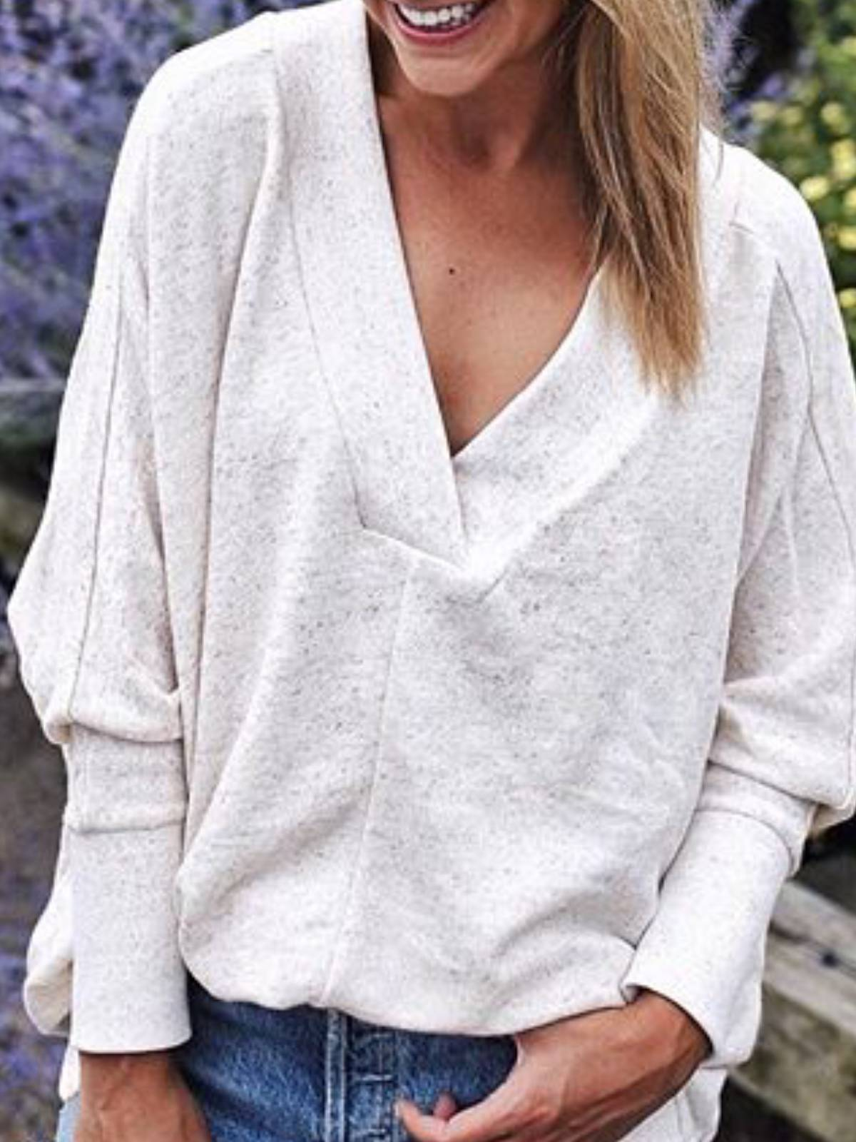 White Cotton Plain Long Sleeve V Neck tops