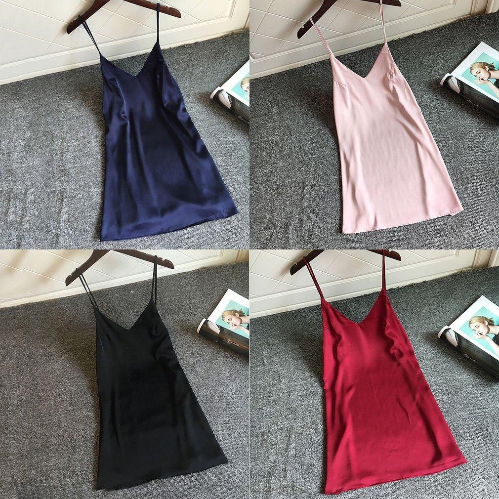 Sexy Satin Nightgown Sleepwear Women Solid Color Deep V Neck Nightwear