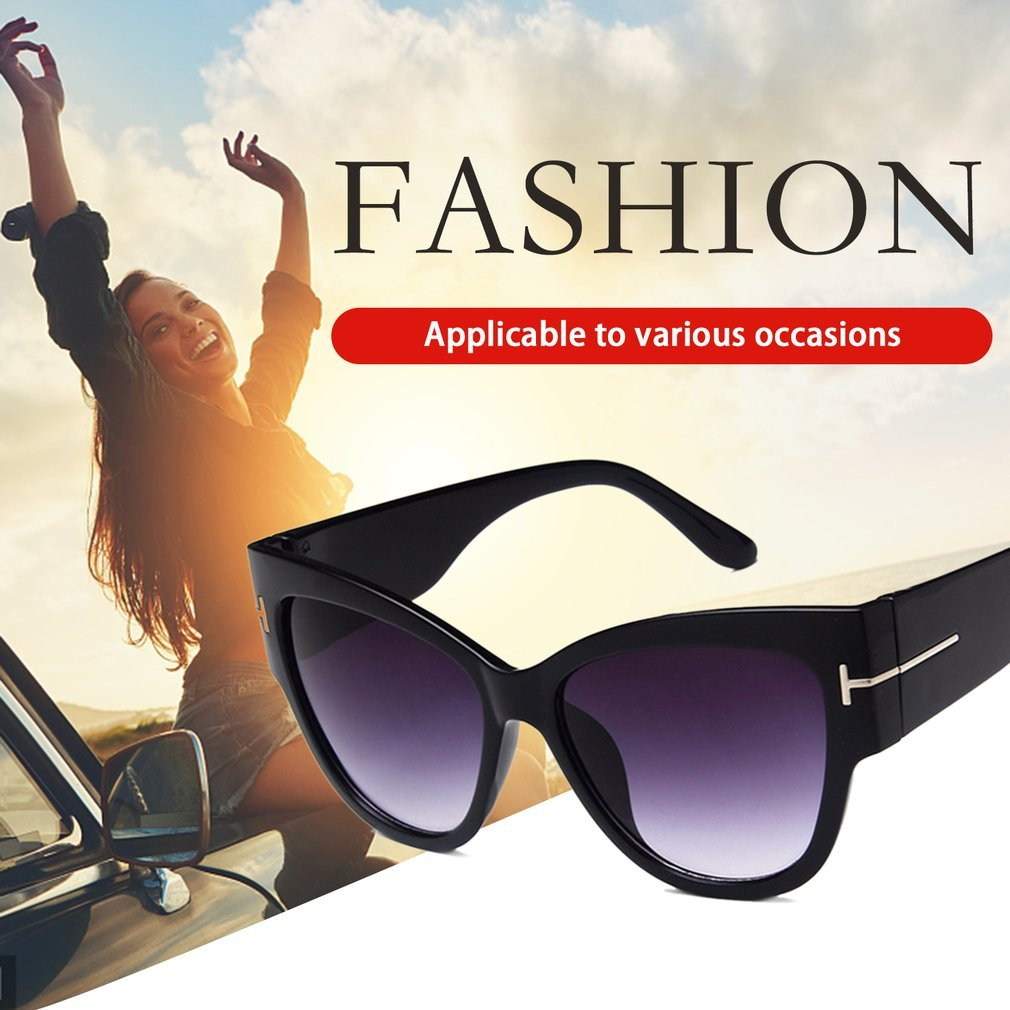 Fashion Letter T Large Frame Women Sunglasses Anti-UV Lady Sun Glasses Vintage Shades For Driving Shopping Working Dating