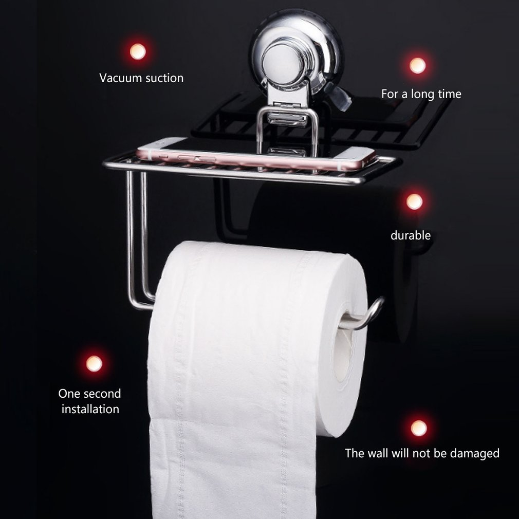 201 Stainless Steel Wall Mount Phone Towel Tissue Paper Storage Holder Rack