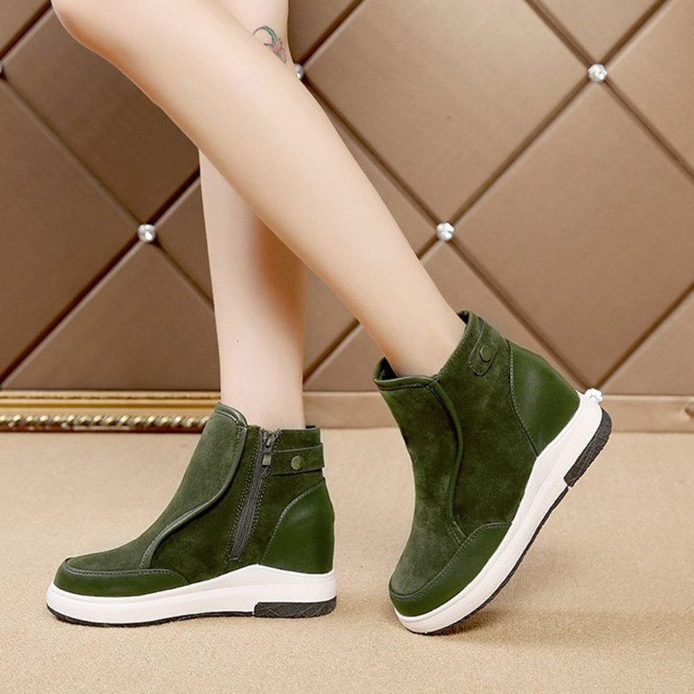 Women Anti-slip Boots Solid Color Round Toe Leather Side Zipper Ankle Boots