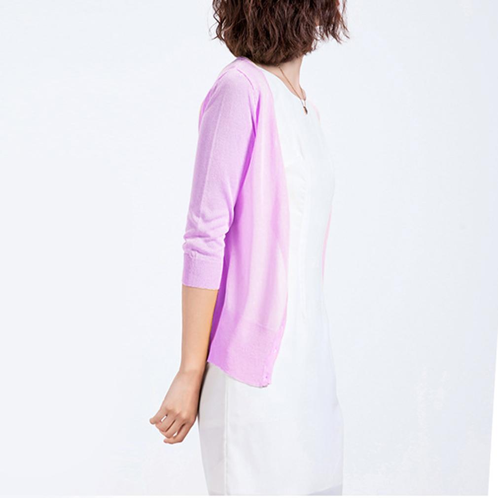 Korean Summer Style New Look Slim Silk Women Half-Sleeves Knit Cardigan
