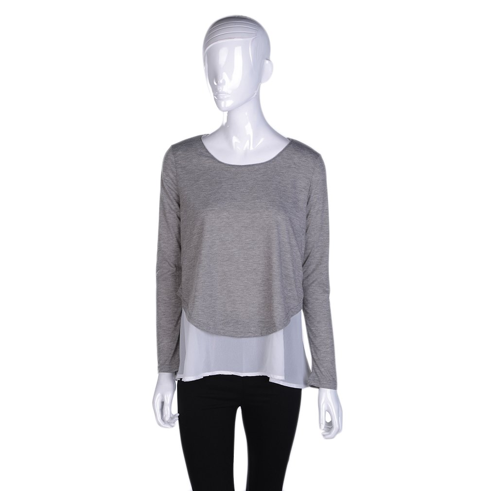 Women Tops Casual Pullover O-neck Loose Long Sleeve Knitted Blouse Grey