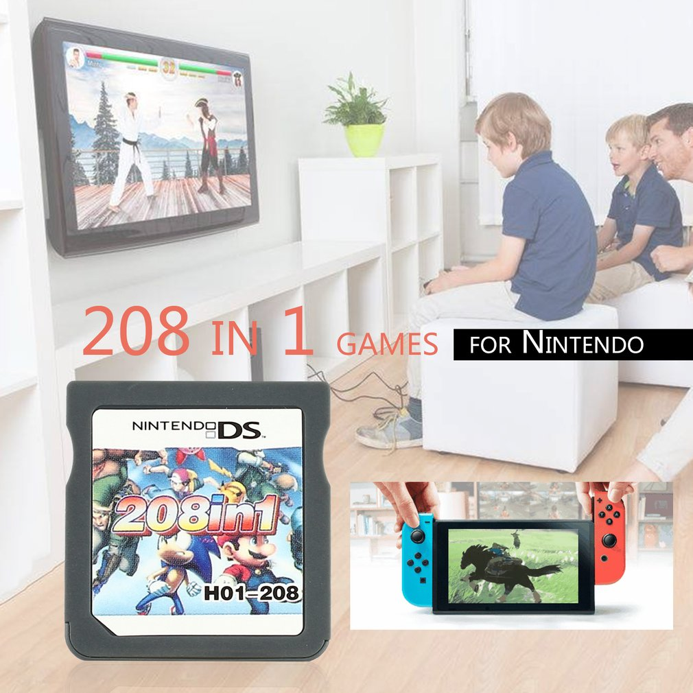 NDS 208 in 1 Video Game Cartridge Console Card Mini Memory Card for Nintendo