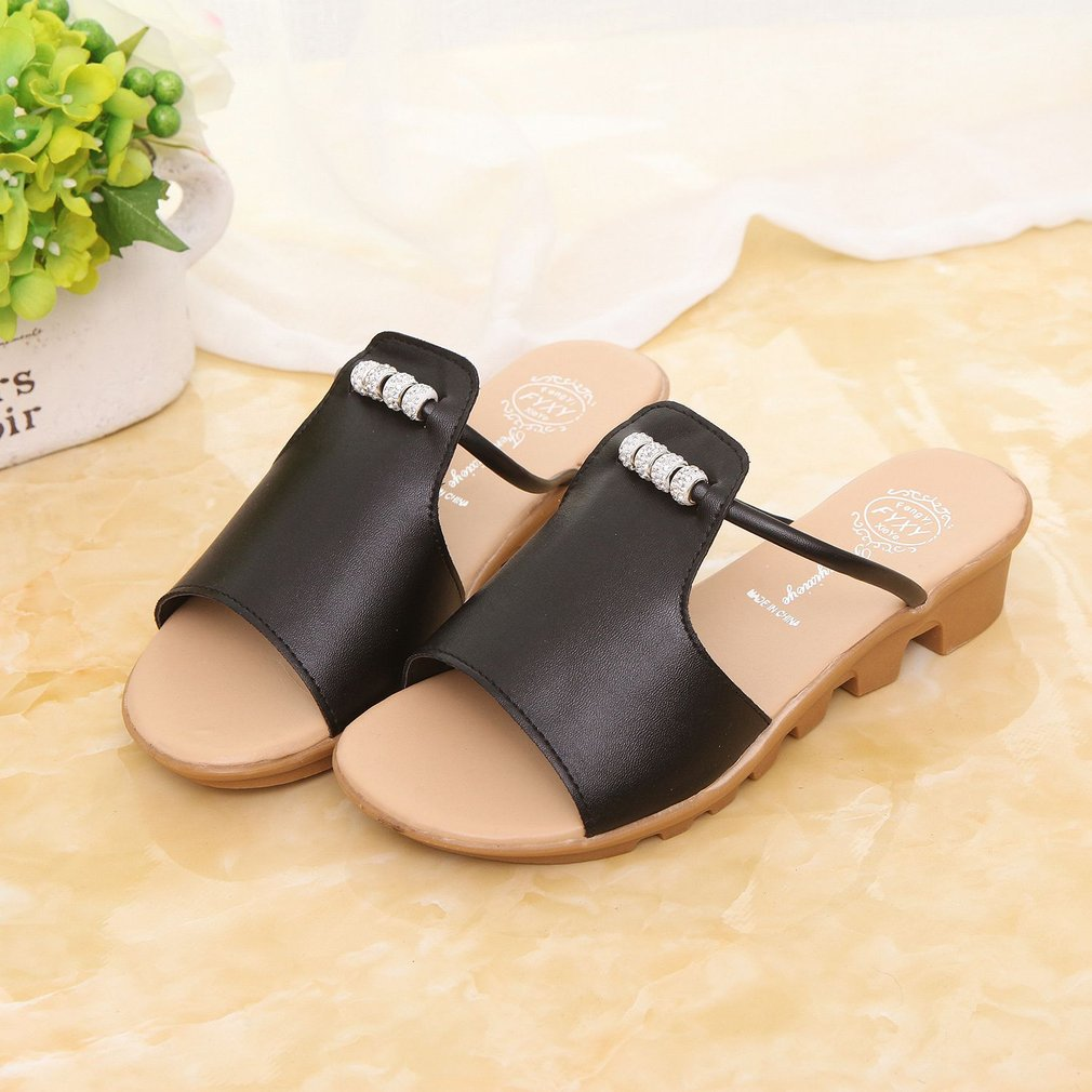 Fashion Women Thicked Platform Summer Slipper Casual PU Leather Slides Shoes