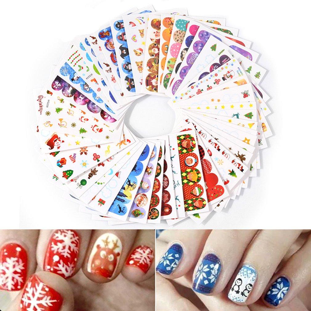 45PCS Christmas Nail Sticker Xmas Printing Nail Paper Nail Art Decoration