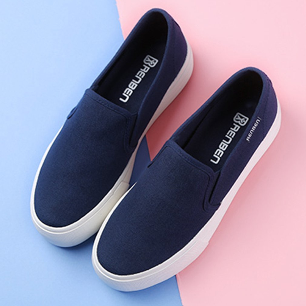 Renben 8392 Women Breathable Solid Lazy Canvas Slip-on Flat Loafer Shoes