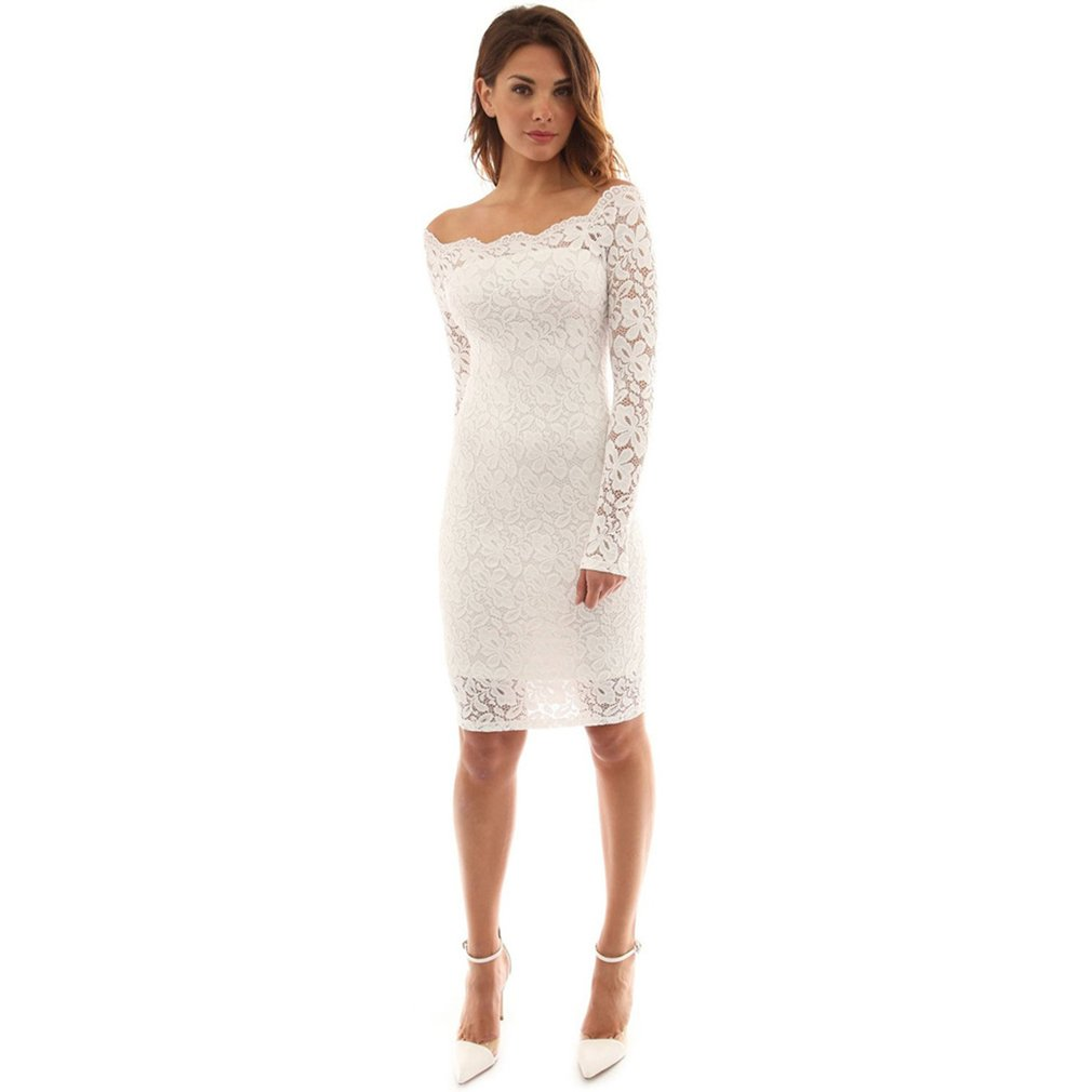 Women Lace Sexy Off Shoulder Knee Length Dress Long Sleeve Party Sheath Dress
