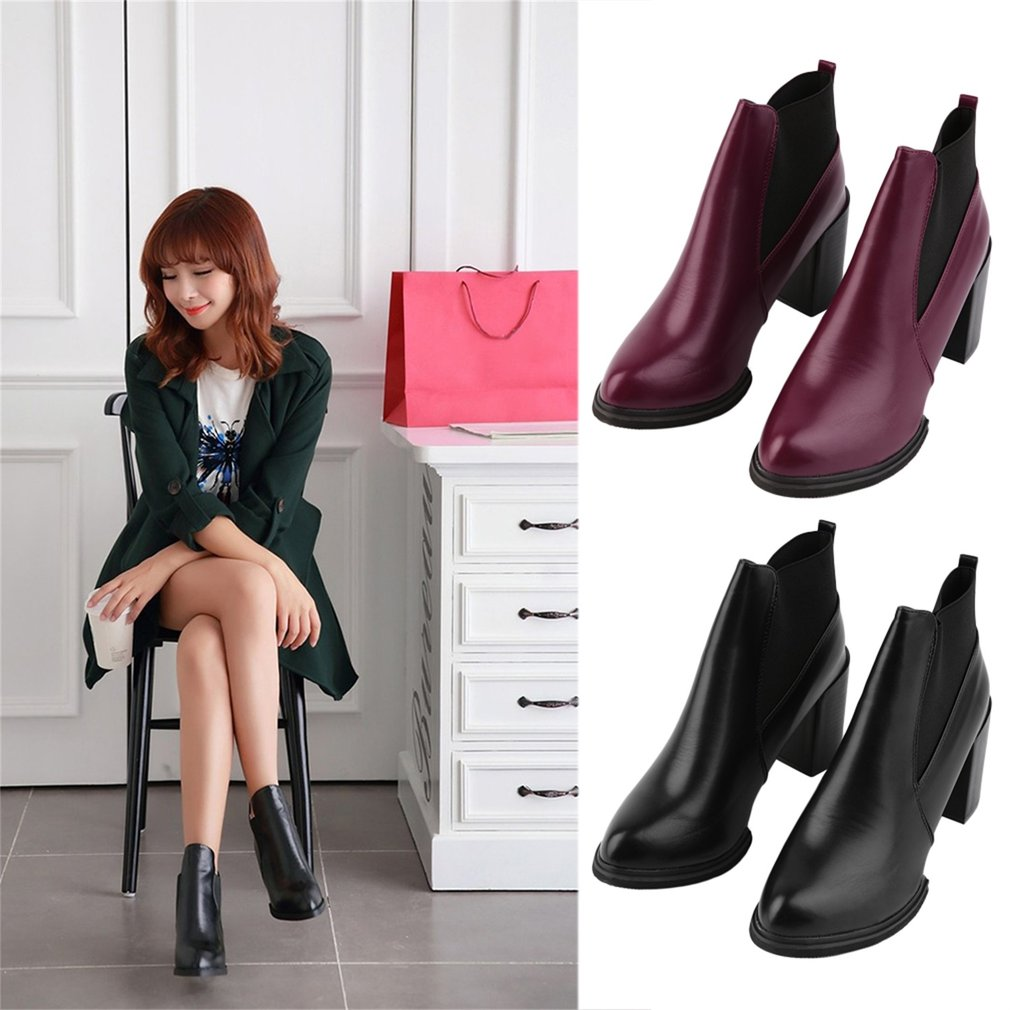1 Pair Chic Women Lady Winter Pointed Toe High Heel Boots Bootie Shoes