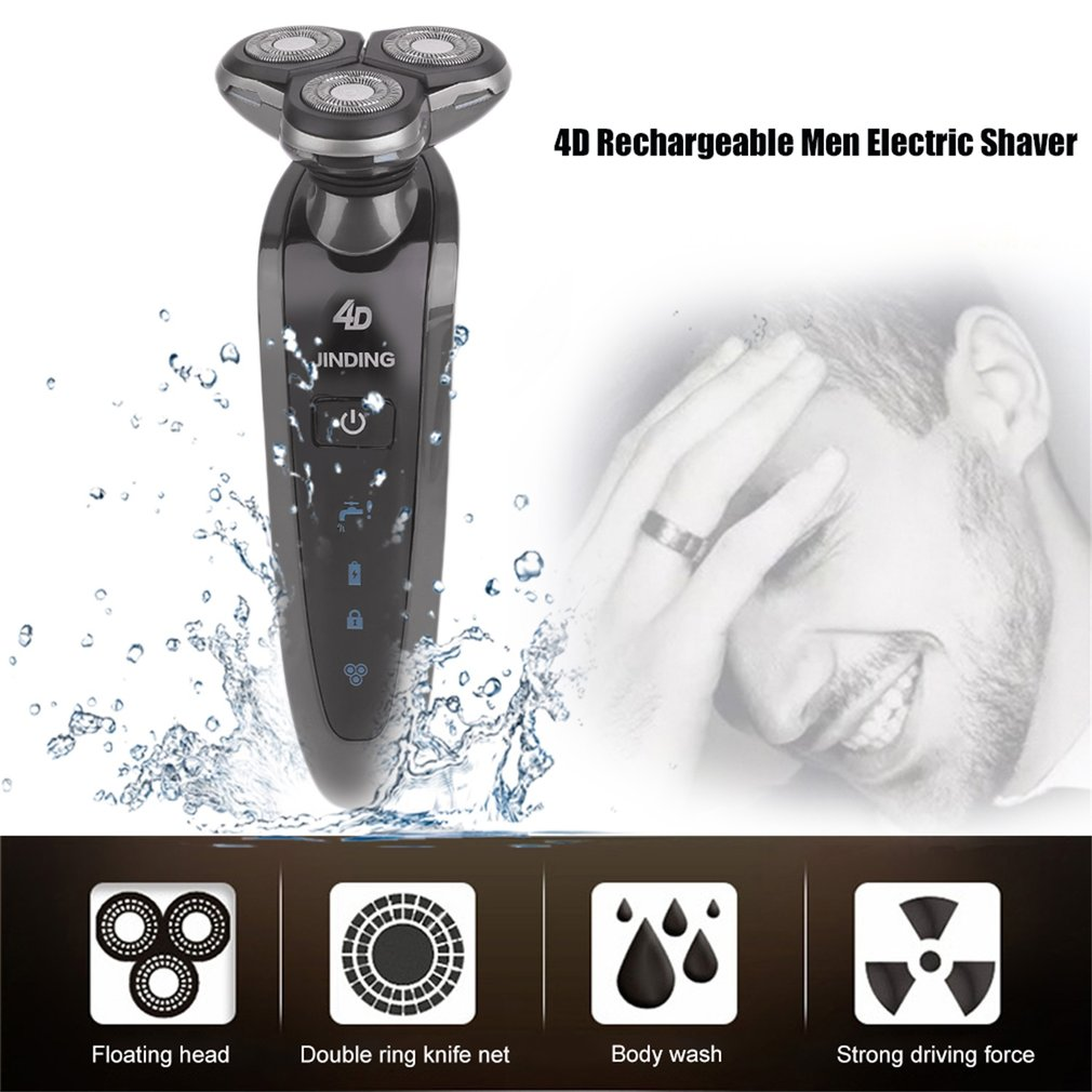 Rotary 3D Rechargeable Electric Beard Trimmer Shaving Razor Men Face Care