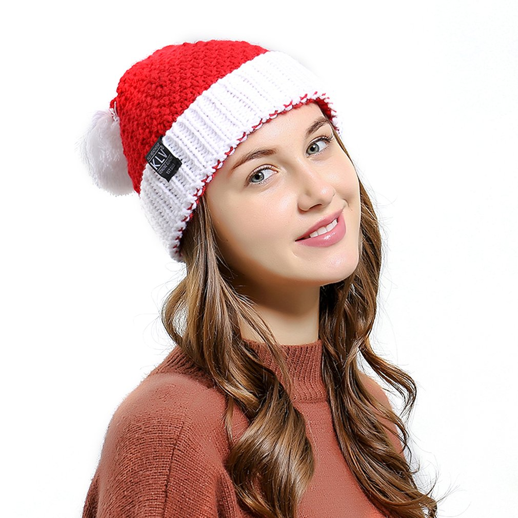 Christmas Decor Cap Santa Claus Hat Warm Knitted Hat Beanie With Wool Ball Hat