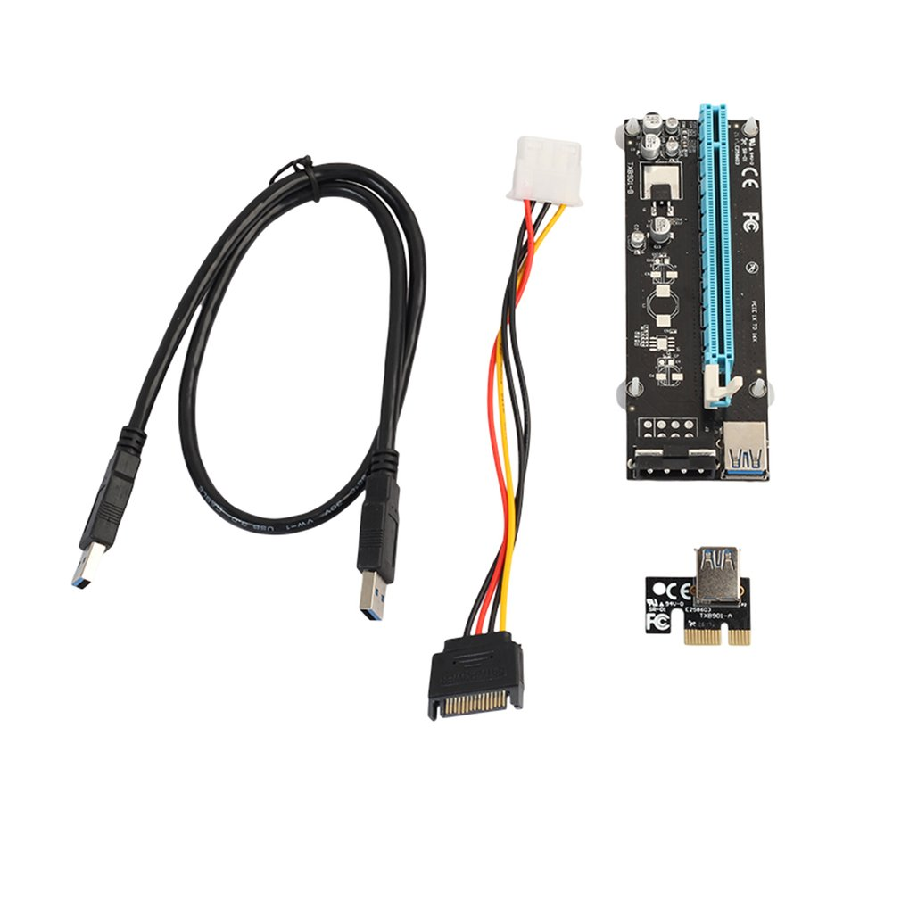 PCI-E Express Riser Card 1x to 16x With SATA 4pin Cable USB3.0 For Miner Machine
