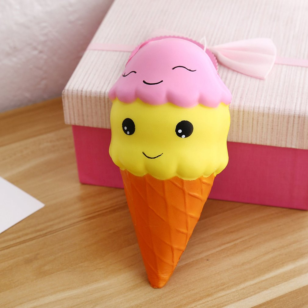 Soft PU Double Smiley Face Ice Cream Shape Slow Rising Toy Decompression Toys