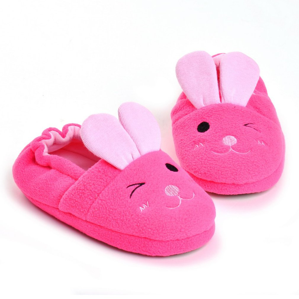 Autumn Winter Baby Slippers Antiskid Girls Shoes Cute Pink Rabbit Indoor Shoes