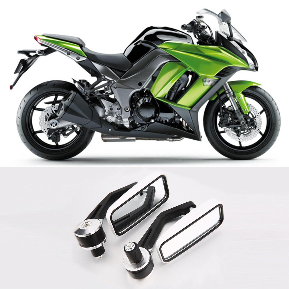 Side Mirrors for Motorcycle Rear View Handle Bar End Mirrors Square NEW