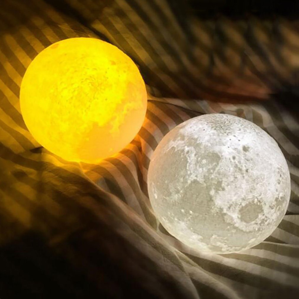 3D Print Unique Moon Lights Night Light Moon Light Touch Control Charging LED
