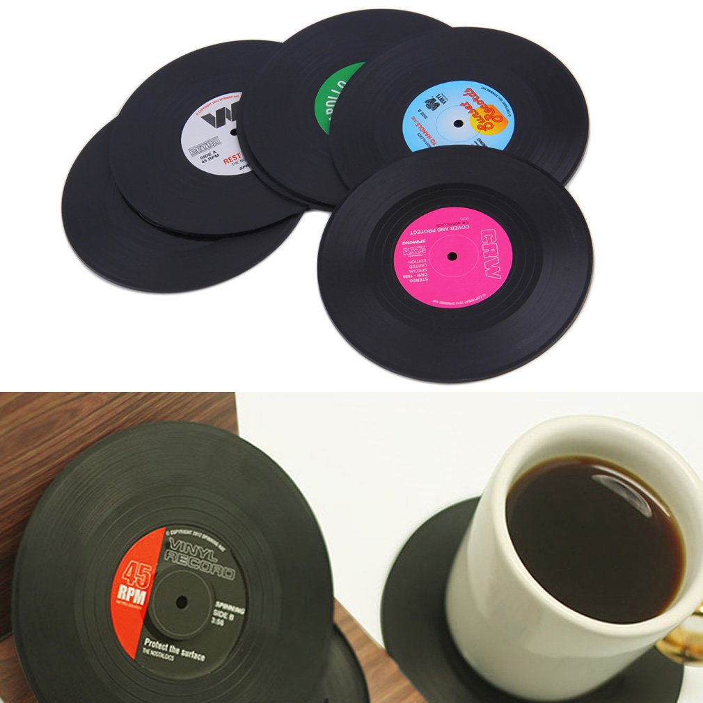 6pcs CD Records Shape Coaster Cup Drinks Holder Mat Tableware Placemat