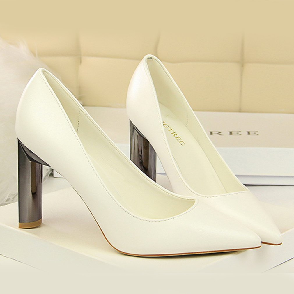 Fashion High Metal Heels Women Shoes Attractive OL Style Female Sandals Sexy Pointed Toe Lady Shoes For Work Party