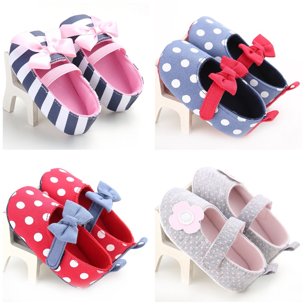 Fashion Dot/Stripe Bow/Flower Kid Soft Sole Non-Slip First Walkers Shoes