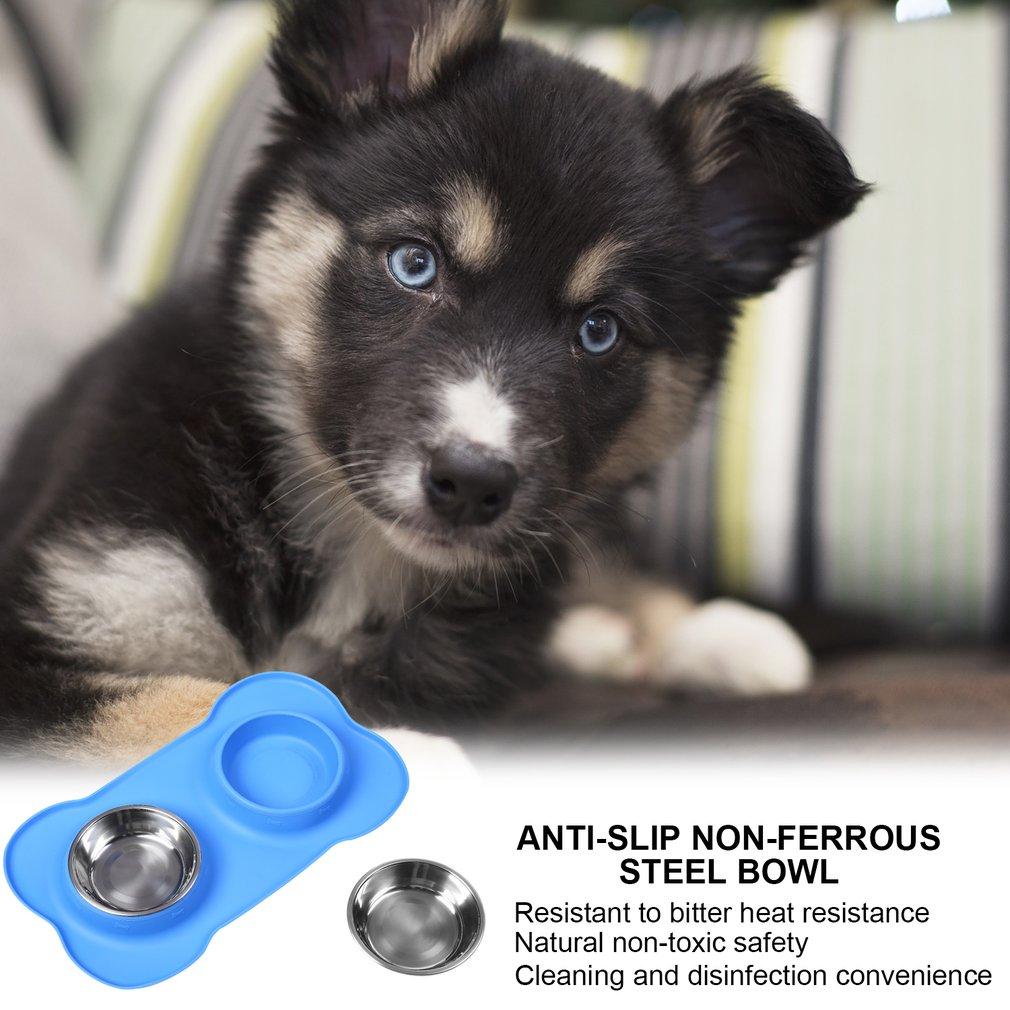 700ml Pet Dog Anti-Slip Non-Skid Silicone Mat Feeder Tool Bone-shaped Bowl