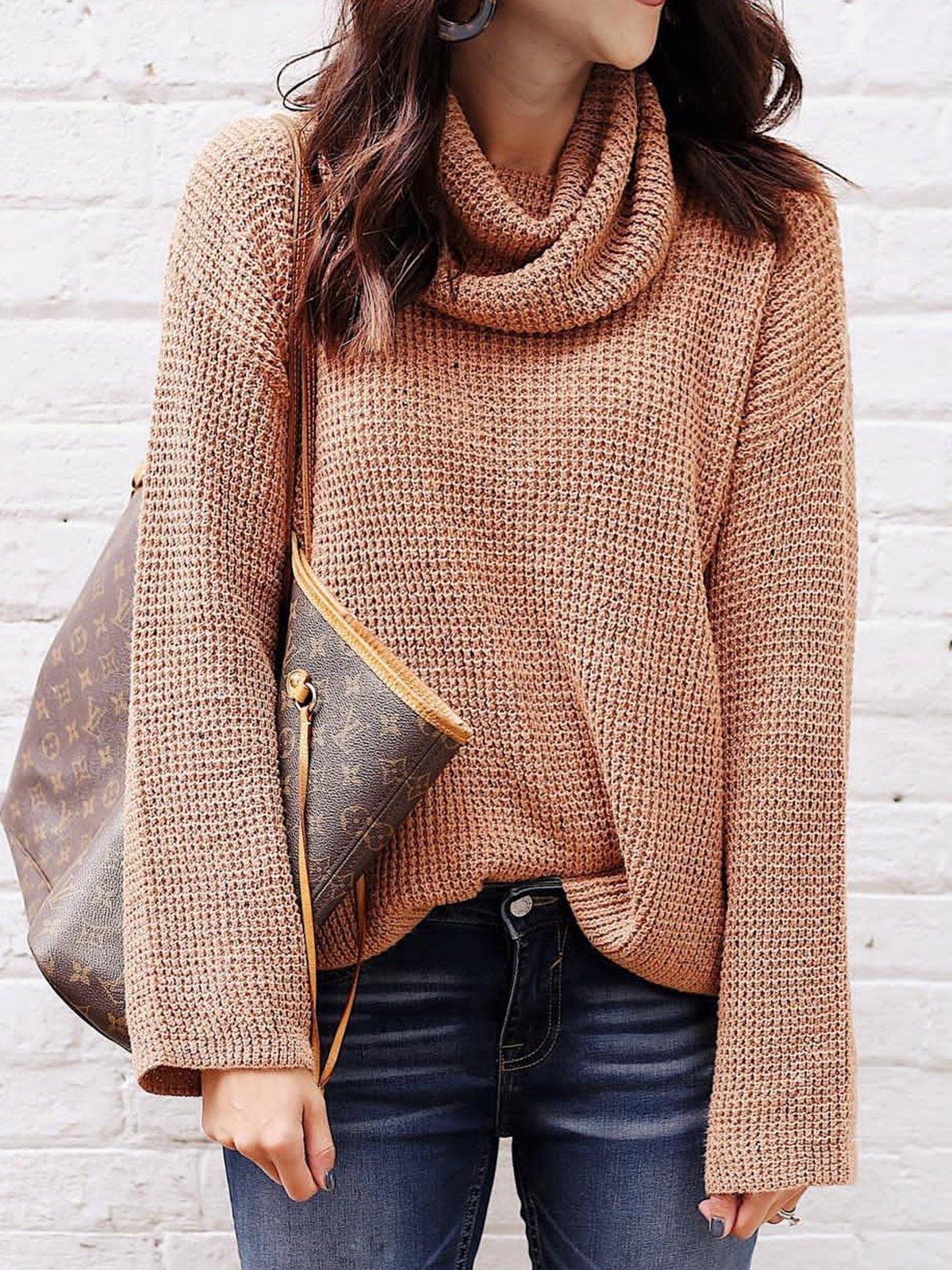 Plus Size Plain Geometric Long Sleeve Casual Sweater
