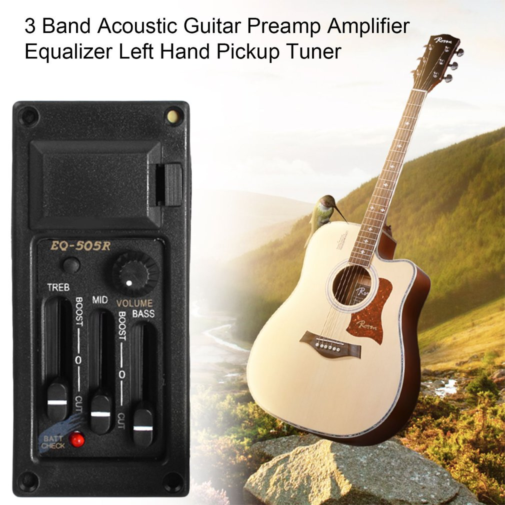3 Band Acoustic Guitar Preamp Amplifier Equalizer Left Hand Pickup Tuner