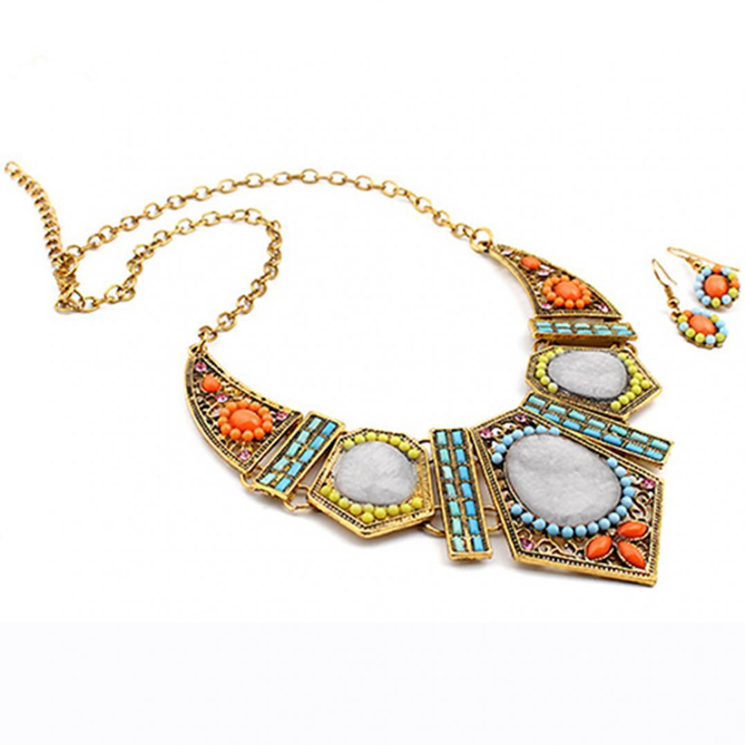 Women's Boho Colorful Hollow Statement Chain Choker Necklace Hook Earrings Set