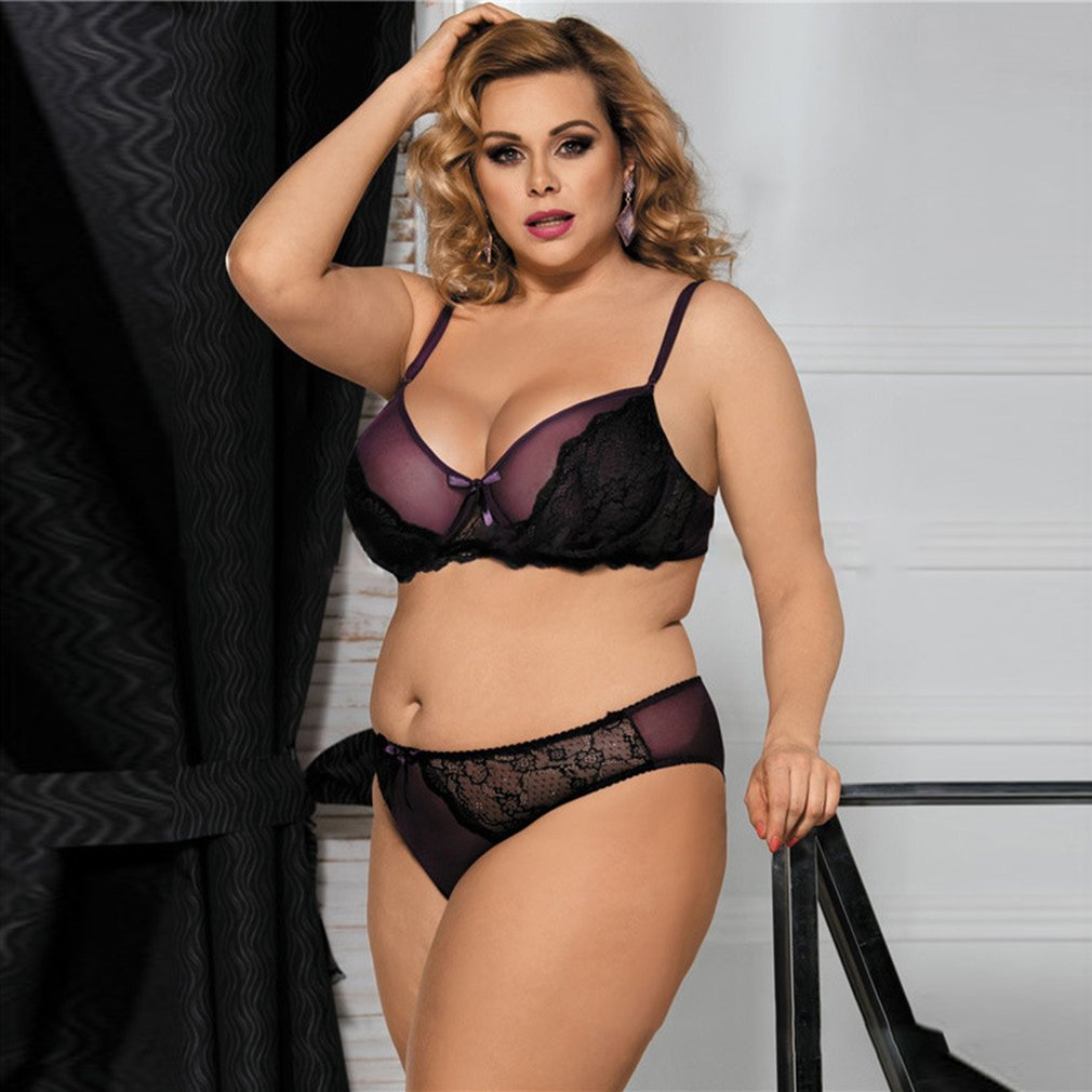 Plus Size Women Bras Briefs Set Elegant Lace Large Size Bra Sets Sexy Lingerie