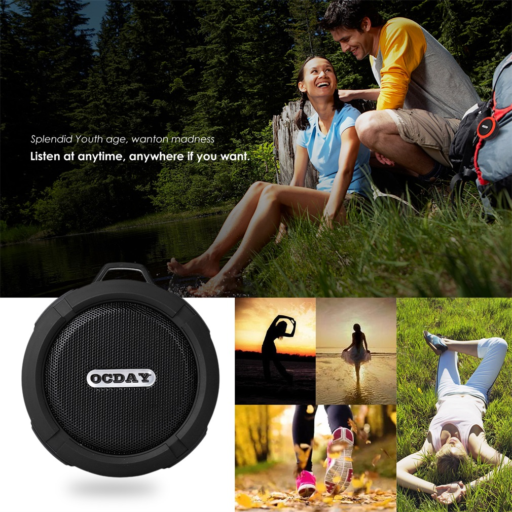 OCDAY C6  Wireless Bluetooth Speaker With Calls Handsfree and Suction Cup